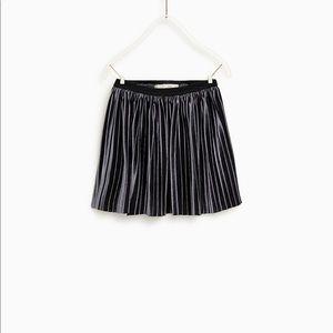 Zara Girls Velvet Pleated Navy Blue Skirt